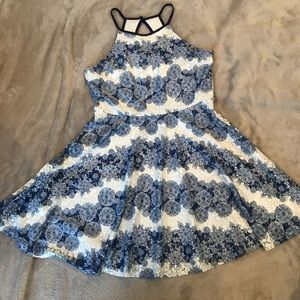 blue, white, and floral dress